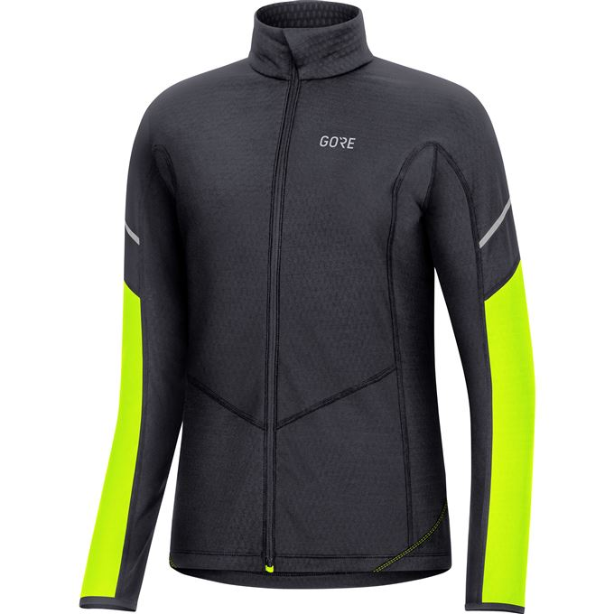 GORE M Women Thermo Long Sleeve Zip Shirt-black/neon yellow-36