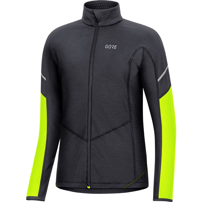 GORE M Women Thermo Long Sleeve Zip Shirt-black/neon yellow-40