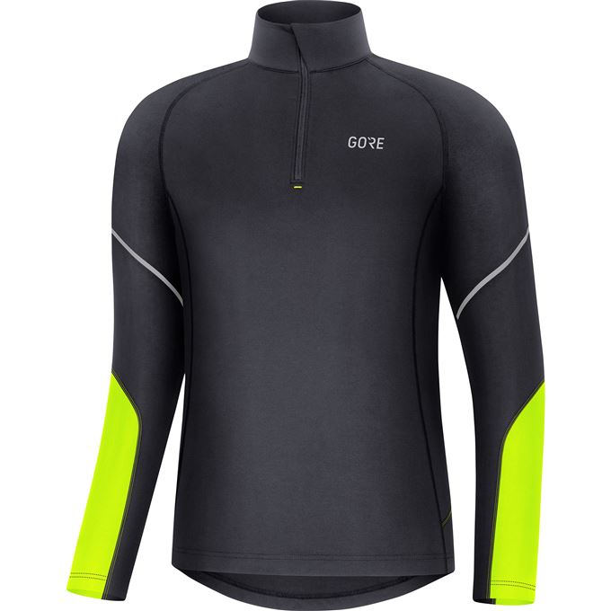 GORE M Mid Long Sleeve Zip Shirt-black/neon yellow-L