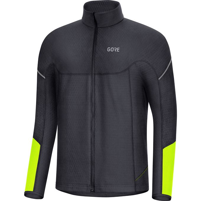 GORE M Thermo Long Sleeve Zip Shirt-black/neon yellow-M